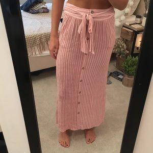 Pink Striped Maxi Skirt